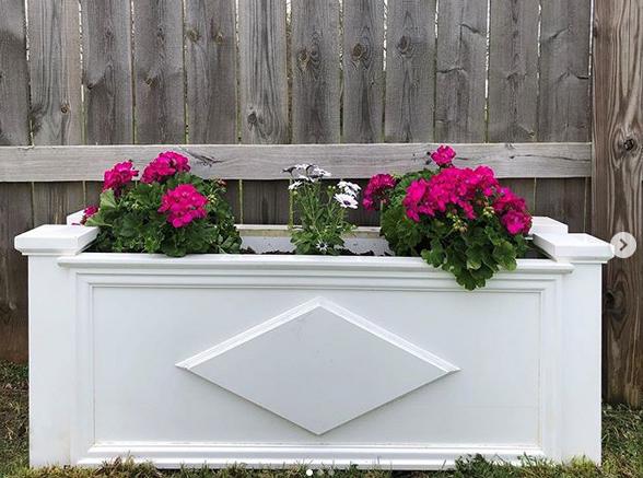 Cellular PVC trim in a flower box application